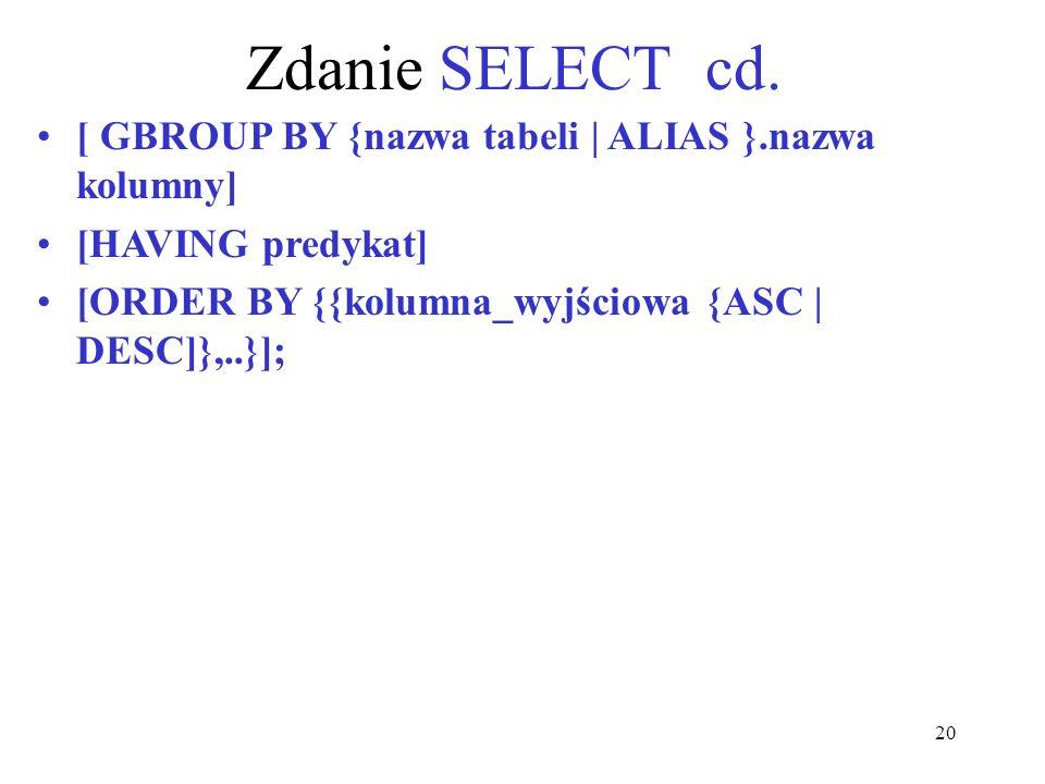 Zdanie SELECT cd. [ GBROUP BY {nazwa tabeli | ALIAS }.nazwa kolumny]